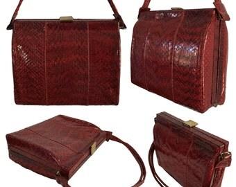 Vintage Midcentury Burgundy Red Reptile Skin Frame Bag