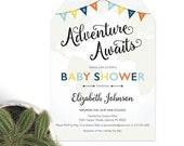 Adventure Awaits: Baby Boy Shower Invitation