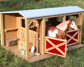 Handcrafted two-stall horse barn