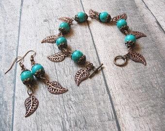 Turquoise Jewelry Turquoise Bracelet Charm Bracelet Bohemian Jewelry Romantic Jewelry Ethnic Jewelry Gemstone Jewelry Boho Jewelry