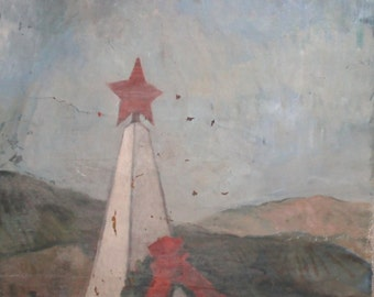 Large oil painting socialist realism commemorative monument