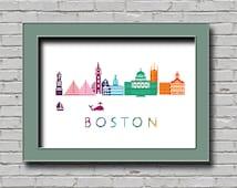 BOGO Boston Massachusetts City Scene in Rainbow Colors Wall Decor Embroidery Modern Cross Stitch Pattern Skyline Art Part of City Diy Chart