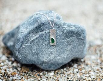 Green Seaglass Pendant, Silver Necklace, Silver and Seaglass Jewelery, Cornish Sea Glass.