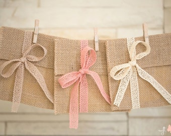 SPECIAL OFFER!!! SET of 3 Natural Linen Burlap cd/dvd cases/pockets/envelopes with cotton lace ribbons (ivory,cream/brown,dusty rose)