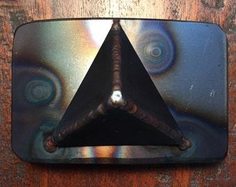 Handmade welded metal industrial pyramid belt buckle