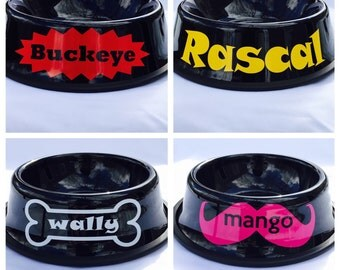Personalized Black Dog Bowl-Custom Dog Dish-10 Fonts-4 Designs-Personalized Pet Bowl