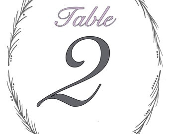 Wedding Table Numbers, Colour Customisable