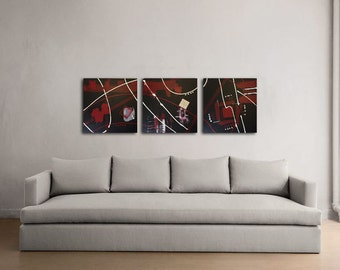 Original Abstract Acrylic Triptych Painting 36x12 (Three 12x12 Canvases)