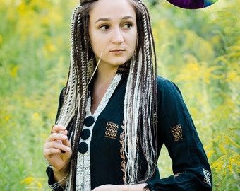 Set of double ended synthetic senegalese dreads. Dark brown & Blond dreadlocks.