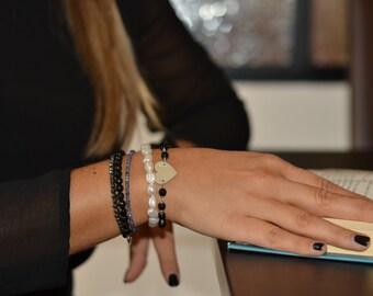 Stone heart bracelet