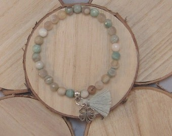 Trendy natural stone bracelet of Amazonite with tassel and bead