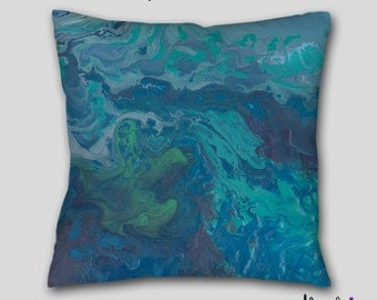 Abstract throw pillow, Teal blue aqua green, Turquoise gray, Decorative accent Pillow finished, Cover Case, Designer Contemporary Home decor