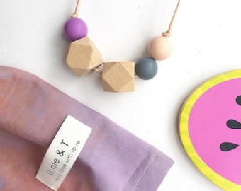 Marlow Necklace • grey/mauve/blush