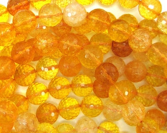 "12mm faceted citrine round beads 15"" strand 32210"