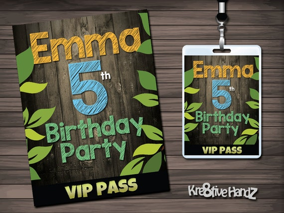 Outdoors VIP Pass Badges Personalized for Birthdays or any Celebration for Boys or girls of any age