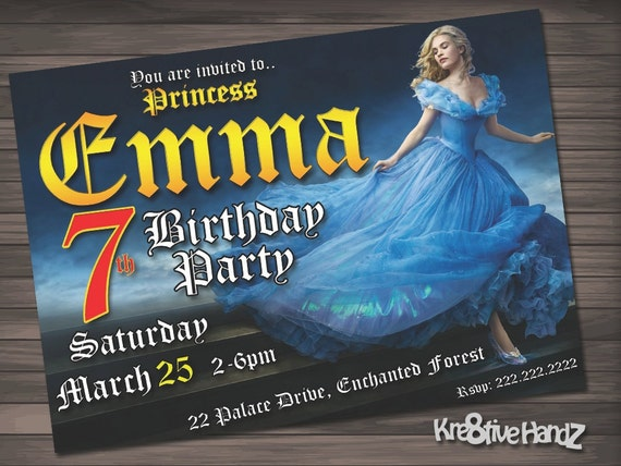 Fairytale princess Party Invitation customized printable invite for girl of any age + Free Thank You Card