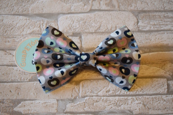 """Bow Tie Bowtie """"Manzanas"""" for dogs, cats or other pets, grey"""