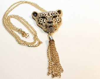 Gold Leopard Head Pendant, Crystal Rhinestones, Large Pendant Necklace, Gold Chain Tassel,