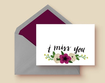 I Miss You Card | Single Card | Greeting Cards |Stationary