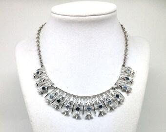 Stunning Blue Rhinestone Silver Tone Vintage Estate Necklace