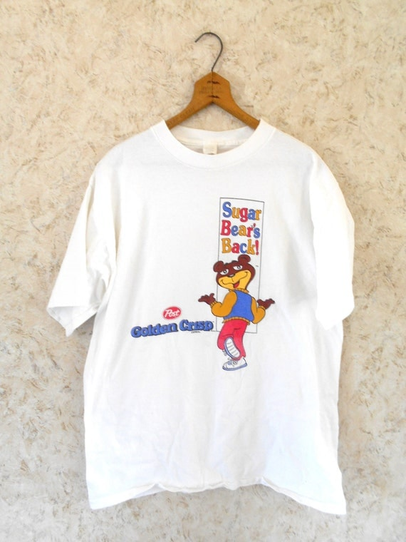 Vtg 80s sugar bears post golden crisp cereal cotton t shirt for Crisp white cotton shirt
