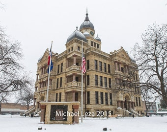 Stretched Canvas -  Courthouse on the Square Snow Day Denton Texas