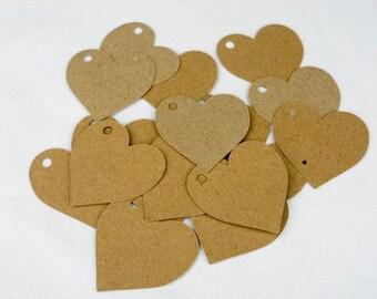 Kraft tags, price labels, 40 heart shaped 5cm x 5cm
