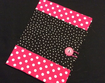 Pink and Black Polka Dot Journal, Journal Cover, Reusable Cover, Composition Notebook Cover