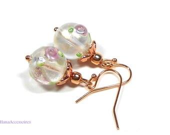 Gold Earrings * rose * earrings Lampwork