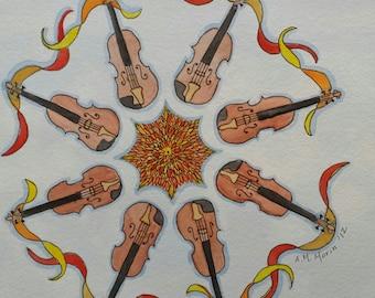 Violin mondala painting (brown)