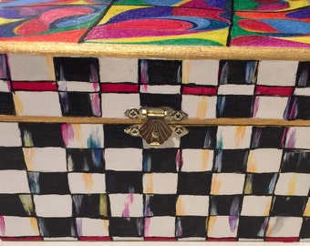 Hand painted recipe box inspired by MacKenzie Childs designs.
