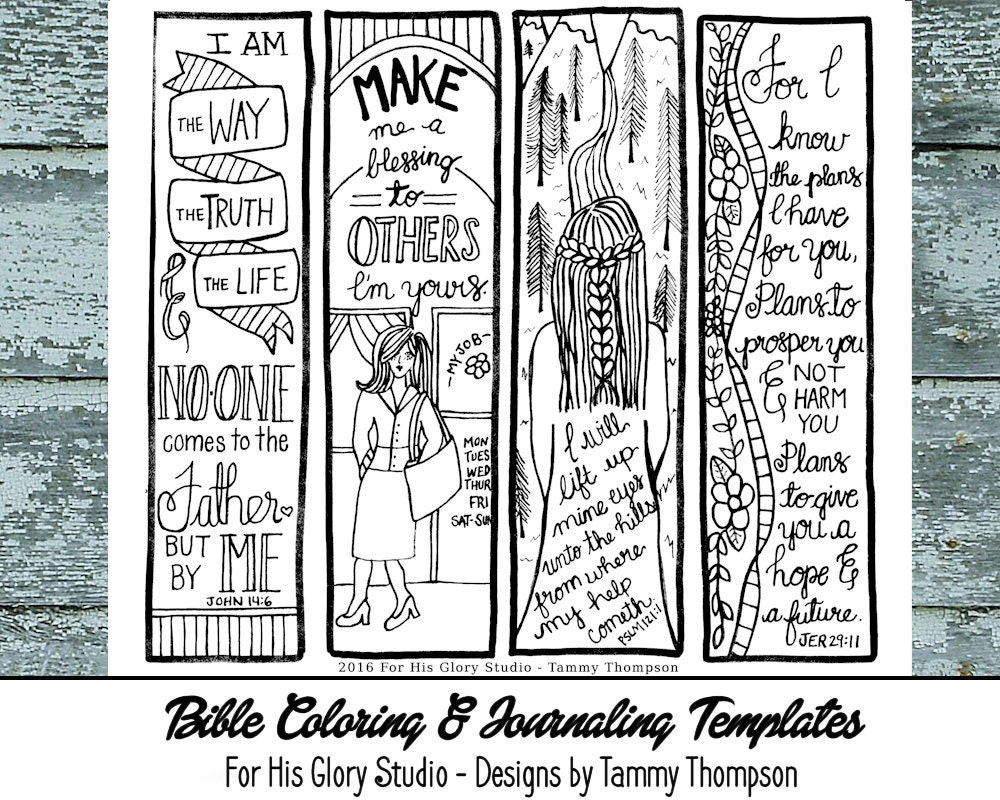 religious bookmark templates - i am the way 17 bible journaling black and white pdf