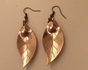 Copper Colored Leaf Earrings