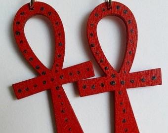 Red Ankh Earrings