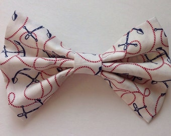 Anchor Fabric Hair Bow-Red, White & Blue Bow-4th of July-Summer Bow