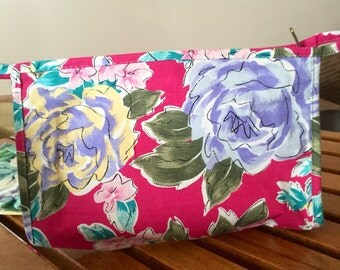 90's Floral Cosmetic Bag Waterproof Lining Magenta ||| ON SALE NOW 50% Off