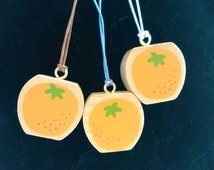 PARTY BAG filler OFFER reduced comb P&P. Wooden orange necklace, pendant, upcycled, handmade, fruit, kitsch, party bag,  kitsch, kawaii,