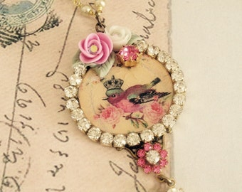 sweet handmade necklace assemblage swarovski crystals porcelain flowers glass pearls no.1118