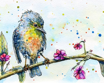 Watercolor illustration of a bird sitting on a tree. Original handrawn painting.
