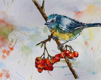 Watercolor illustration of a bird sitting on a tree. Original handrawn painting.