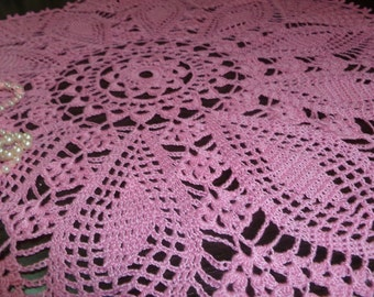 Crochet a doily lace, Dollie. beautiful mini tablecloth pink