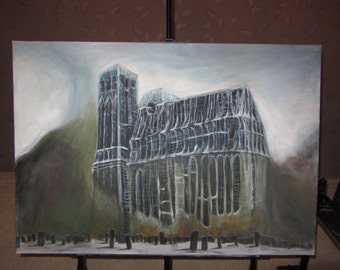 Cathedral, ambient, acryil painting (Zdzislaw Beksiński reproduction un handmade) Free shipping