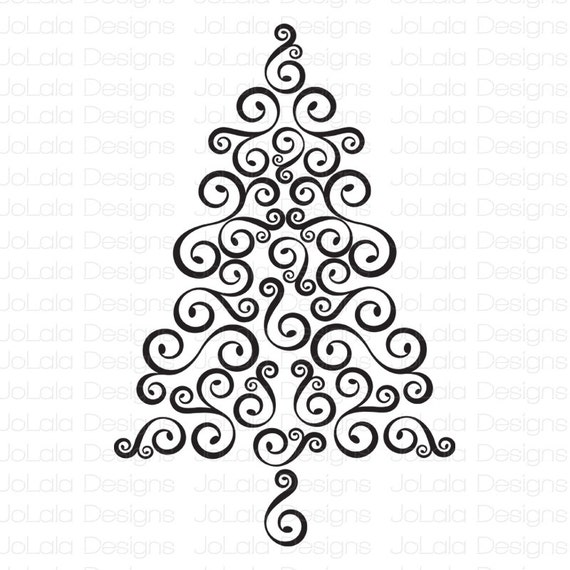 Swirl Christmas Tree SVG Download File PNG EPS From JoLalaDesigns On Etsy  Studio