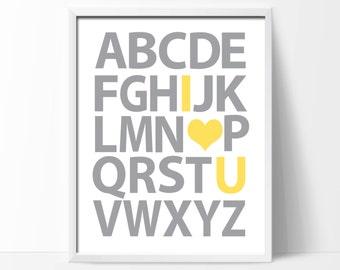 "Printable Alphabet Nursery Art Print, Yellow & Grey Nursery Art Decor, Baby Boy or Girl Nursery Decor- 1-8x10""Digital Instant Download-S140"