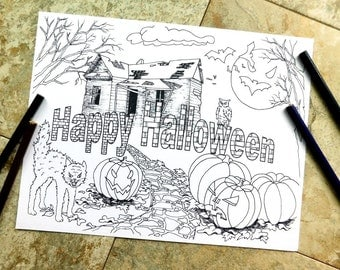 Halloween, coloring pages, happy halloween, fall coloring books, scary cats, pumpkins, haunted house, bats, ghosts, freeky, abandoned house