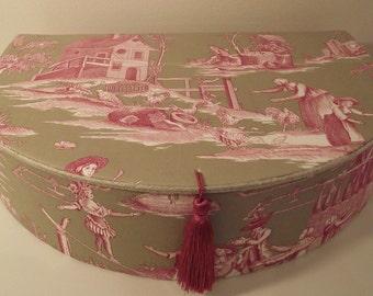Box, romantic, 18th century style, toile de Jouy, decorative box, organizer, country life