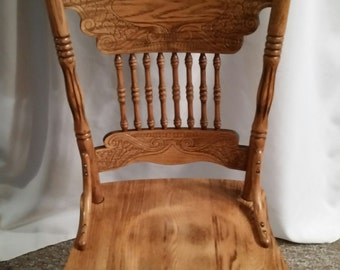 Vintage High Back Oak Dining Chair with Ornate Carving