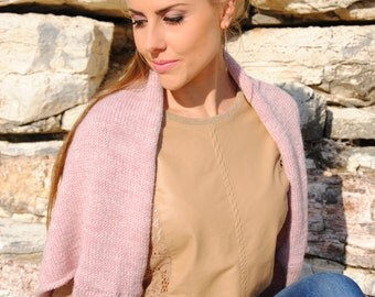 Hand Knitted Blush Pink Shrug for Spring Evenings