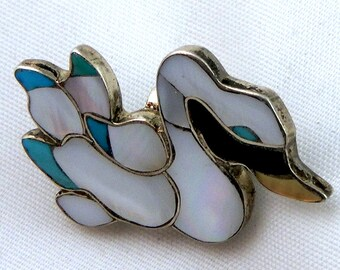 Zuni Native American Eva Etsate Signed Swan Bird Pin Pendant Channel & Mosaic Inlay - Turquoise, Yellow Lip Shell, Mother of Pearl, Vintage