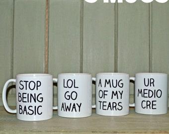Set of 4   Tumblr Inspired Novelty Mugs